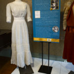 1900 – Gray and white summer dress: Cotton, lace, and crochet inserts Donated by Alice Joean Richter Lucchesi YO1-C101-01