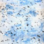 """Krista Anandaduttan, Weight of Wings, Swifts Plaster art, 24"""" x 36"""" x 2"""""""