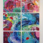 """Lisa Reindorf, Rising Seas, Oil on metal panels, 62"""" x 96"""", 2018"""