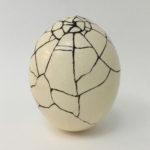 """Lorna Stevens, Repair, Ostrich egg, lacquer, sand, 6.5"""" x 5"""", 2016"""