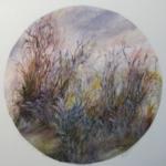 "Autumn Grasses, Acrylic on Paper, 22"" x 22"", 2017, $350"