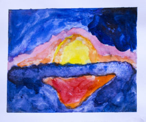 """FIRE SUNSET"", NATE RANGEL, GRADE10, WATERCOLOR ON PAPER"