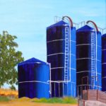 Margaret Eldred, Blue Silos with a Cattle Chute, Road 89, north of Winters, Acrylic on canvas, 20 x 16 inches, 2020, www.instagram.com/eldred307, www.eldredart.com