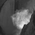 """Susan Lord Bovey, Backlit Mist Yellowstone Falls, Inkjet black and white print, 22""""x27"""", $150"""