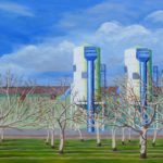 """After the Storm, Walnut Orchard and Dryers (Yolo County), Acrylic on canvas, 30"""" x 40"""""""
