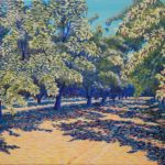"""Almond Orchard in Summer (Madera County), Acrylic on canvas, 16"""" x 20"""""""