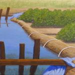 "Blue into Green (Yolo County), Acrylic on canvas, 16"" x 20"""
