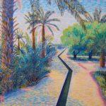 "Oasis Near Merzouga, Morocco, Acrylic on canvas, 22"" x 28"""