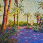 "Date Palms Near Sunset (Amzrou, Morocco), Acrylic on canvas, 24"" x 30"""
