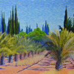 """Date Palms, Maize, and Cypresses (Namibia), Acrylic on canvas, 22"""" x 28"""""""
