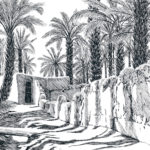 """Footpath Through the Oasis (Amzrou, Morocco), Pen and Ink on paper, 17.5"""" x 21.5"""""""