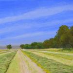 "Freshly Mown Hay (Solano County), Acrylic on canvas, 9"" x 12"""