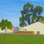 "Hay Barn on County Road 95 (Yolo County), Acrylic on canvas, 12"" x 24"""
