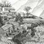 """Mountain Village with Amaranth Fields (Uttarakhand, India), Pen and ink on paper, 17.5"""" x 21.5"""""""