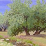 """Olive Orchard and Wildflowers (Ubeda, Spain), Acrylic on canvas, 12"""" x 16"""""""