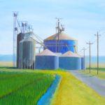 "Rice Silos, Pleasant Grove Road (Sutter County), Acrylic on canvas, 24"" x 24"""
