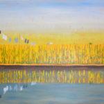 "Ripening Grain Along the Niger River, Mali, Acrylic on canvas, 24"" x 36"""