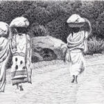 """Walking to Market, Mtae, Tanzania, Pen and Ink on paper, 17.5"""" x 21.5"""""""
