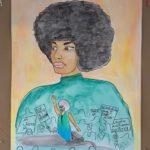 "Kate Mellon-Anibaba, Angela Davis, Watercolor mounted on cardboard, 29""x29"", NFS"
