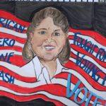 """Jennifer Nachmanoff, Diane Nash, Acrylic on cardboard, 38""""x27"""", NFS"""