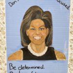 """Ella Fodor, Michelle Obama, Acrylic on cardboard, 27""""x33"""",NFS"""