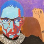 "Anya McCann, Ruth Bader Ginsberg, Acrylic on cardboard, 35""x63"", NFS"