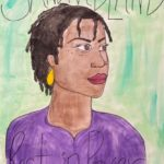 """Kate Mellon-Anibaba, Laverne Cox, Watercolor mounted on cardboard, 22.5""""x31"""", NFS"""