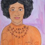 """Kate Mellon-Anibaba, Bell Hooks, Watercolor mounted on cardboard, 30""""x34"""", NFS"""