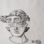 "Jennifer Michel, Floral Greece, Pencil on paper, 9""x12"", $30"