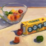 """Polly LaPorte, Dots Escaping, Oil on board, 8""""x10"""", $400"""
