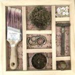 """Natalie Nelson, Yard Treasures, Mixed media, 10""""x10""""x2"""", $200"""