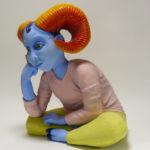 """Sandy Calhoun, Blue, Clay, underglaze and glaze, 19""""x20""""x17"""", $1500"""