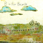 """Bicycle Day, Encaustic, collage, mixed media, 20"""" x 20"""", $400"""