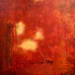 """Red, Oil, cold wax and mixed media, 16"""" x 16"""", $480"""