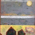"""Saucer Over Santa Monica, Oil, cold wax and mixed media, 20"""" x 32"""", $850"""