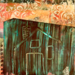 """The Green House, Oil, cold wax and mixed media, 13"""" x 13"""", $350"""