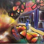 Jenn Ponci, Apocalypse Rebirth Acrylic, Spray paint and acrylic, 4' x 6', 2021, $1,500