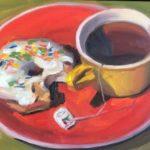 "Polly LaPorte, Coffee Break, 9""x12"", Oil on canvas, $250"