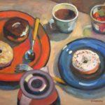 "Robert Gonsowski, Donut Plates, 18""x24"", Oil on canvas, $860"
