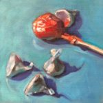 """Polly LaPorte, Kissing Up 8""""x8"""", Oil on canvas, $190"""