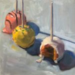 """Polly LaPorte, Once Bitten Twice Shy, 10""""x10"""", Oil on canvas, SOLD"""