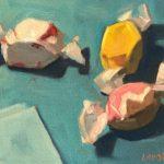 "Polly LaPorte, Taffies, 6""x8"", Oil on canvas, $120"