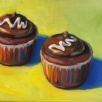 """Polly LaPorte, Upscale Hostess Cupcakes, 9""""x12"""", Oil on canvas, SOLD"""