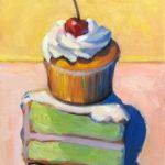 "Polly LaPorte, Vertical Delight, 9""x12"", Oil on canvas, $250"