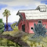 """Caroline Bledsoe, Structures by Nature (Agave) and Humans (Barn), Watercolor, 9""""x12"""", $250"""