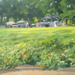 "Karen Fess, Tomatoes in the Neighborhood, Oil on canvas panel, 11""x14"", $250"