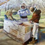 "Elly Gould, Honey Harvest, Watercolor on paper, 16""x20"" framed, $400"