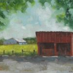 Marlene Lee, The Red Shed on Clos Cavanis Farm, Oil on canvas panel, $250