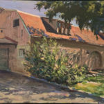 """Richard Yang, Barn at Center for Land-Based Learning, Woodland, Oil on canvas, 12""""x24"""", $2800"""