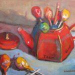 "Robert Gonsowski, Pot of Pops, Oil on canvas, 14""x14"" framed, $500"